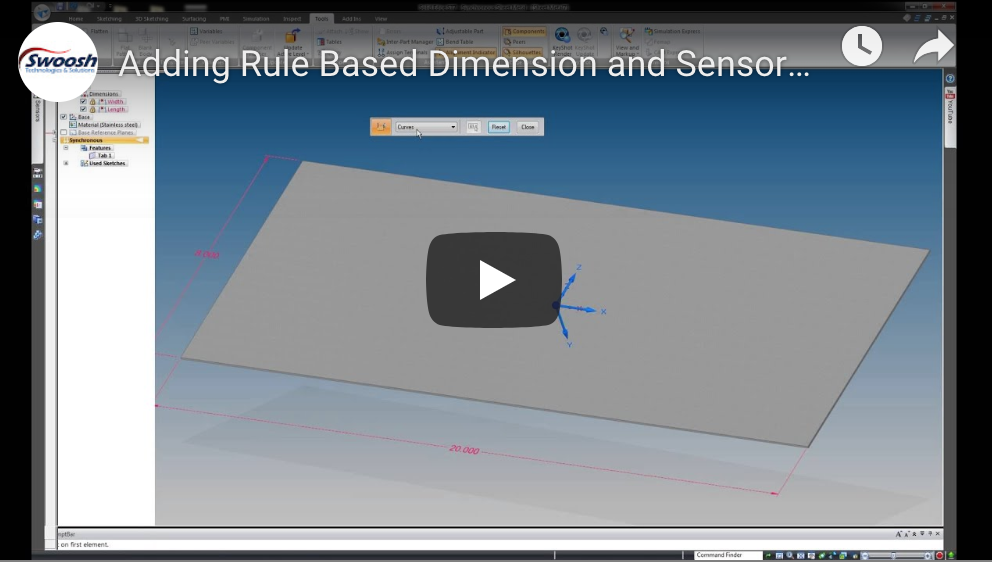 Adding Rule Based Dimension and Sensors in Solid Edge