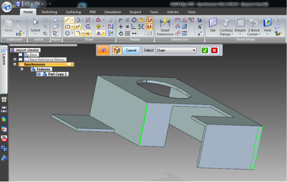 Importing Sheet Metal Solid in Solid Edge ST6