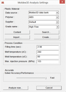 Moldex3D Analysis Settings