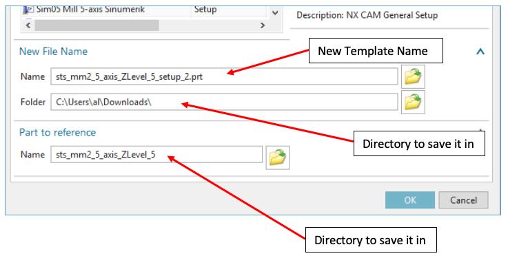 NX CAM Template Dialog Box