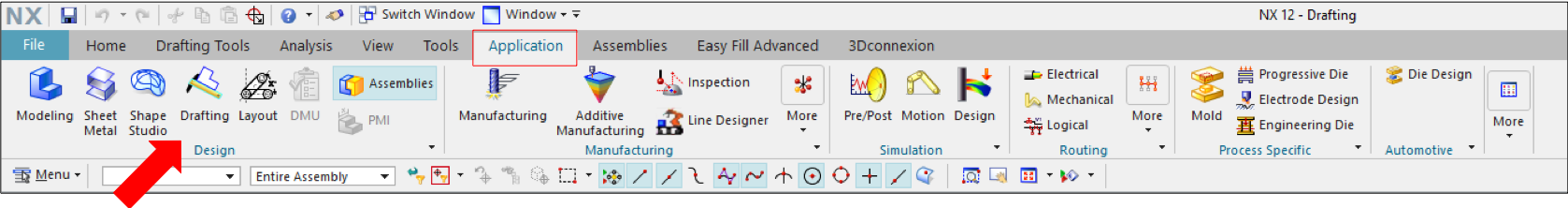 NX Drafting Application Ribbon Bar