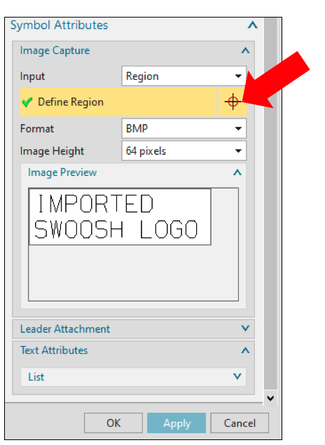 NX Symbol Attributes Define Region