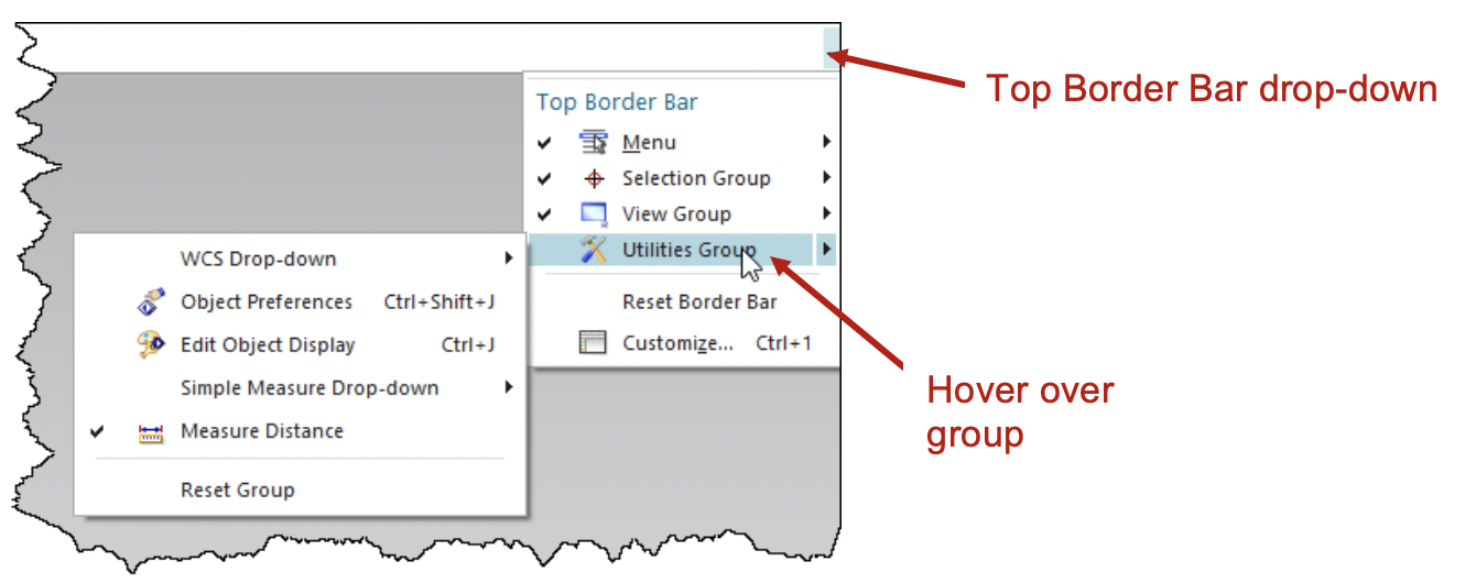 Top Boarder Bar drop-down, hover over group
